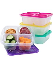 EasyLunchboxes 4-Compartment Snack Box Food Containers, Set of 4 Containers, Brights