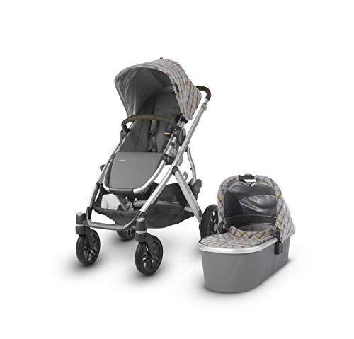 (UPPAbaby Vista Stroller, Spenser (Grey & Yellow Tartan/Silver/Moss Leather), Standard)