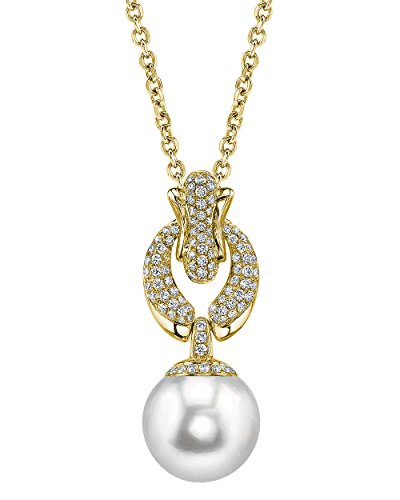 18K Gold 13mm White South Sea Cultured Pearl & Diamond Casey Pendant Necklace - Diamonds 13mm South Sea Pearl
