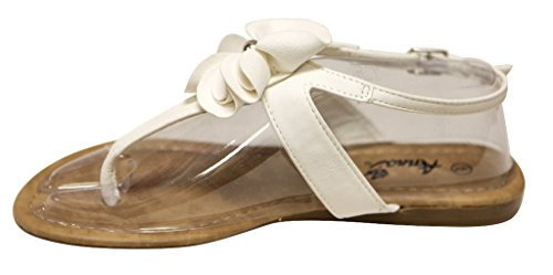 Anna Jeffery-11 Womens T-strap beads flower adjustable ankle strap flat Sandals White Z3Tuh