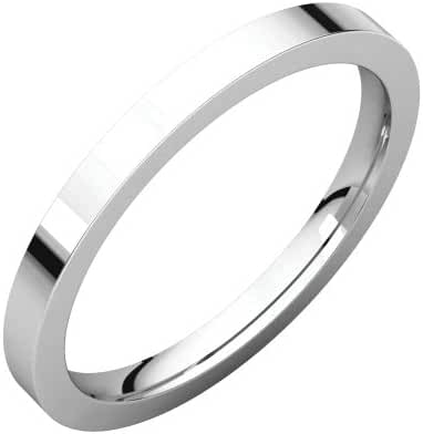Platinum 2mm Flat Comfort Fit Band, Ring Size 5