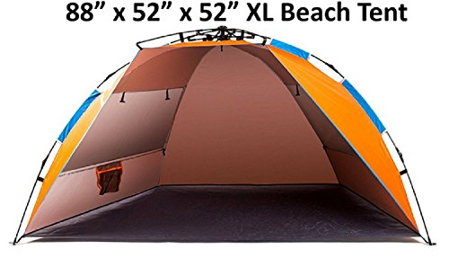 2017 TuTu Outdoors X-Large 4 Person Beach Tent (Durable Portable Sun Shade Summer Shelter with Stakes and Carrying Bag Instant Easy Up Anti UV for Fishing ...  sc 1 st  Hiking Gear Store & 2017 TuTu Outdoors X-Large 4 Person Beach Tent (Durable Portable ...