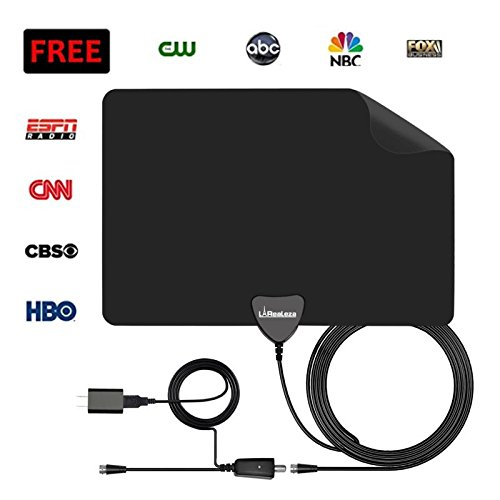 HDTV Antenna, La Realeza Indoor Amplified Digital TV Antenna 50 Miles Range[ Better Reception] with Detachable Amplifier Signal Booster,USB Power Supply and 13 FT High Performance Coaxial Cable-Black