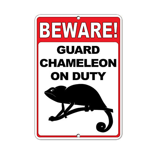 - Beware! Guard Chameleon On Duty Quote Funny Metal Sign Art Wall Decor Rust Free Heavy Duty Aluminum Sign