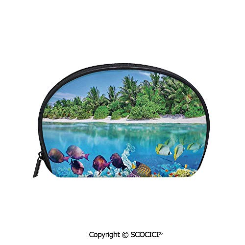 Portable Cosmetic Bag Storage Bag Sandy Seacoast and the Underwater Aquatic World in Maldives Travel Diving Paradise Photo Mini Storage Bag for Daily Travel ()