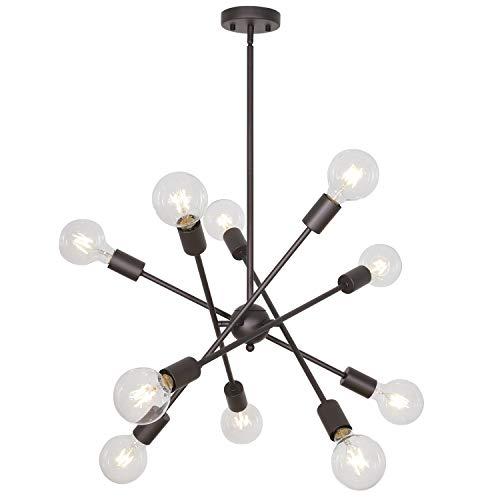 Sputnik Chandelier Light BONLICHT 10 Lights Oil-Rubbed Bronze Modern Living Room Chandelier Lighting Retro Mid Century Semi Flush Mount Ceiling Light Fixture UL Listed