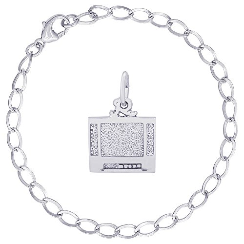 Rembrandt Charms Sterling Silver Flat Screen TV Charm on a Curb Link Bracelet, 8