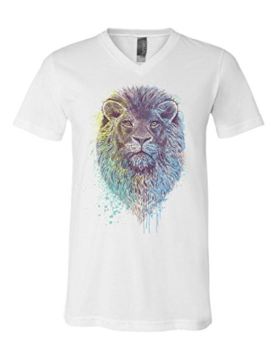 Lion Head King of The Jungle V-Neck T-Shirt Wildlife Animal Roar Safari Tee White L by Tee Hunt