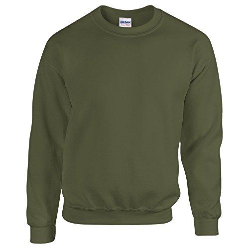 (Gildan HeavyBlend, adult crew neck sweatshirt Military Green 2XL)