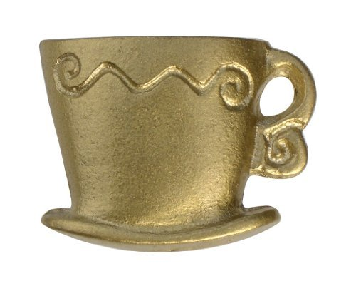 Saucer Knob - 1 x gold coffee mug java cup saucer cupboard / cabinet knob handle. by Swish