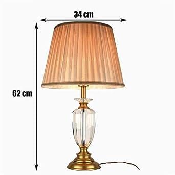 Lámpara de mesa Luces de cobre estilo europeo de tela botón ...