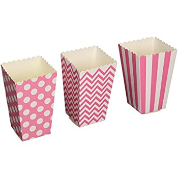 Amazon.com: Paper Mini Candy Pink Striped Popcorn Boxes - 24 pcs ...