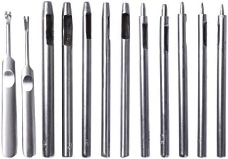 Artibetter レザーホールパンチ耐久性のある携帯用中空レザーパンチDIYセット、レザーベルトジュエリーおよび時計修理用、1セット/ 12個(シルバー)