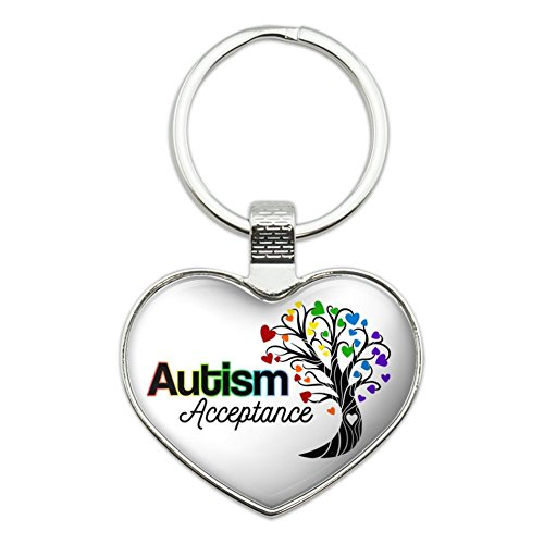Autism Acceptance Tree of Life with Hearts Heart Love Metal Keychain Key Chain Ring ()