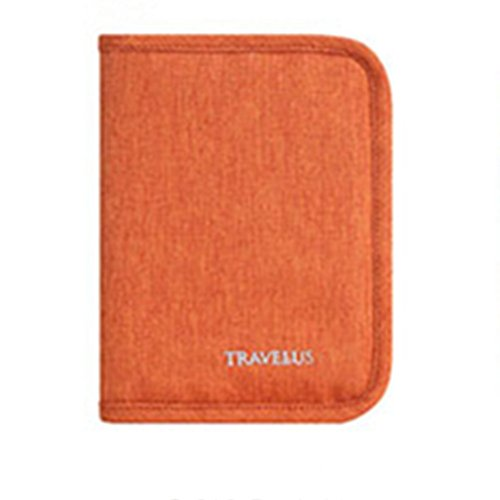 Price comparison product image Angoo Waterproof Nylon Travel Wallet & Bag Document Wallet Strap Passport Credit ID Card Cash Travel Wallet Purse Holder Case Document Organizer (Orange)
