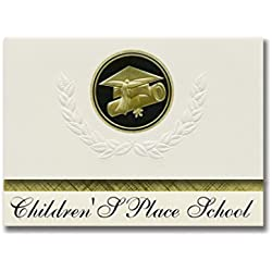 Signature Announcements Children'S Place School (East Windsor, CT) Graduation Announcements, Presidential style, Elite package of 25 Cap & Diploma Seal. Black & Gold.