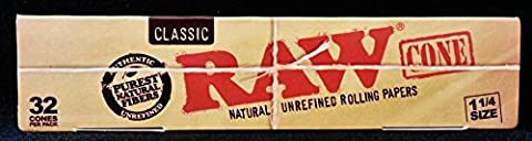 Raw Classic Natural Unrefined 1 1/4 Pre-Rolled Rolling Paper Cones 32 Per Box (Last Kings Pouch)