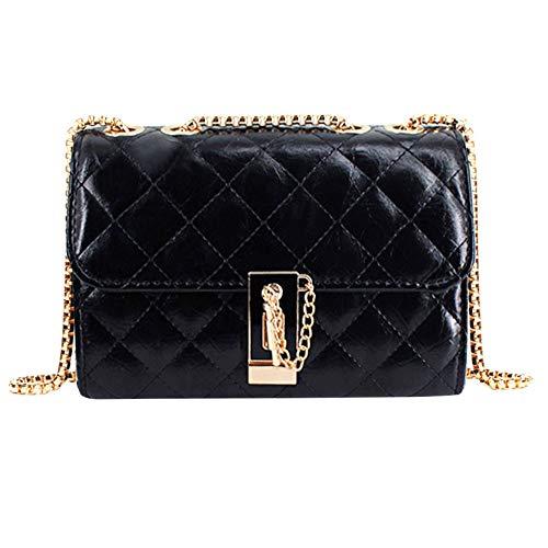Goodbag Crinkle Quilted Patent Classic Crossbody Bag Designer Chain Shoulder Bag Twist Lock Clutch Handbag for Women girls, Black