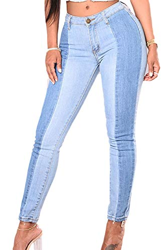 La Mujer Denim Pantalones Primavera Otoño Casual Plus Tamaño Patchwork Skinny Jeans Azul