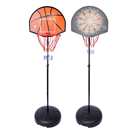 Portable Basketball Backboards, PeleusTech 5.0ft-5.6ft Two-In-One Basketball Stands and Dart Goal Hoop Shooting Toy Set (Basketball Goal Target)