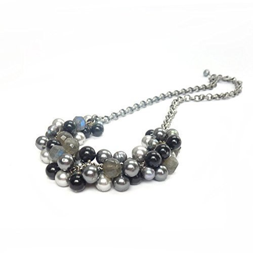 Gray Pearl Cascade Necklace - Labradorite Gemstones - Swarovski Pearls - Contemporary Cluster Necklace