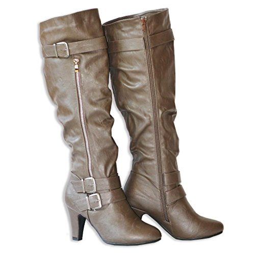Twisted Women's LILLIAN Faux Leather Knee-High Western Heeled Riding Boot with Multi Buckle Straps - MOCHA, Size 6