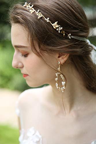 Wedding Band Earrings - Handmade Bridal Gold Leaves Crystals Rhinestone Pearl Flowers Headbands Tiara with Earrings Bride Wedding Hair Jewlery Accessories