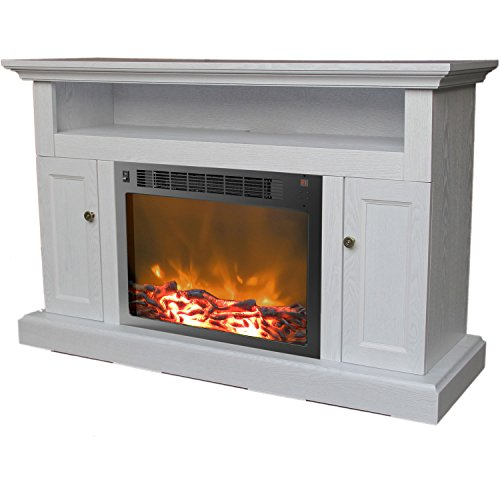 Cambridge CAM5021-2WHT Sorrento Fireplace Mantel with Electronic Fireplace Insert,