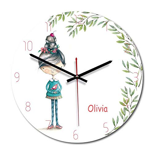 FlorLife Unique Large Wall Clocks 12'' Analog Wall Clock, Non-Ticking Precise Sweep Movement Wall Decorative Clock Modern Hanging Clock Living Room Bedroom Office Decor (Girl) by FlorLife