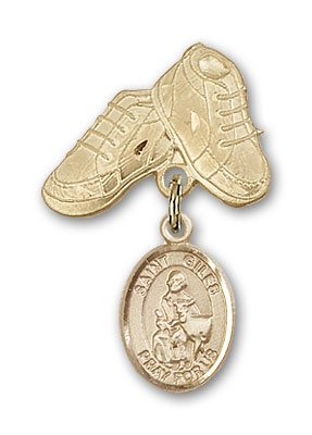 ReligiousObsession's 14K Gold Baby Badge with St. Giles Charm and Baby Boots Pin