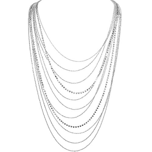 Humble Chic Waterfall Jewel Long Necklace Multi-Strand Statement CZ Rhinestone Chains, Silver-Tone