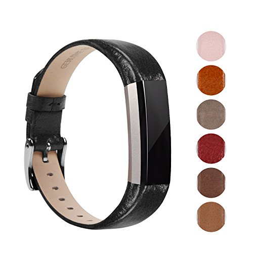 Soulen Fitbit Alta Band, Leather Replacement Band for Fitbit Alta HR and Alta (A# Black)