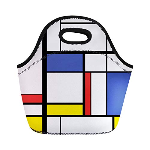 Semtomn Lunch Tote Bag Blue Pattern Abstract Modern Painting in Mondrian Colorful Bauhaus Reusable Neoprene Insulated Thermal Outdoor Picnic Lunchbox for Men Women