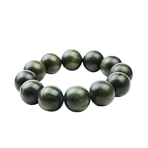 (Wood Bead Bracelet Vintage Buddha Beaded Stretch Bracelet for Men Natural Green Sandalwood)