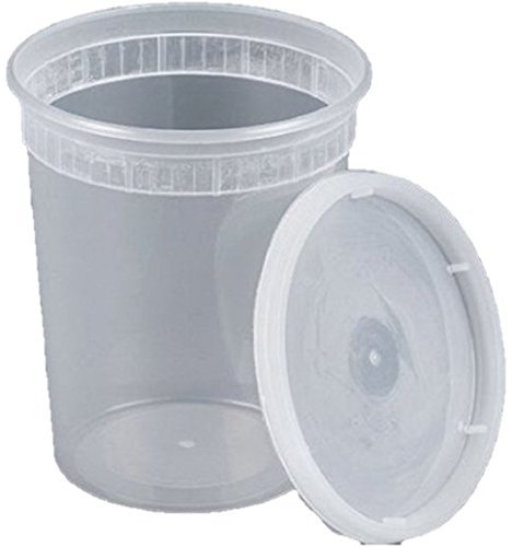 Food Storage Plastic Deli Containers with Lids, 32 Ounce 24 Sets