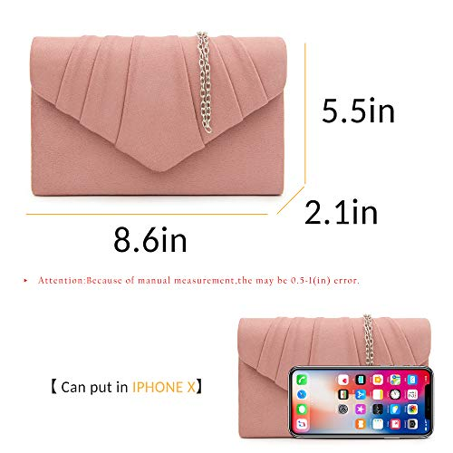 Clutch Suede Women Haze Evening Milisente Pleated Bag Pink Envelope Stylish gZAqWTn