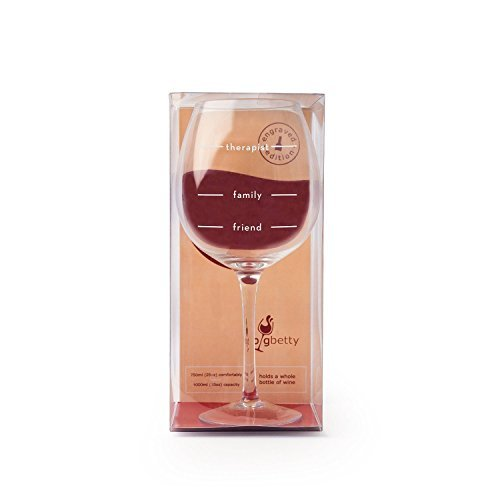The Engraved 'Friend, Family,Therapist' Big Betty XL Premium Jumbo Wine Glass - Holds a Whole Bottle of Wine!, Friend, Family, Therapist,