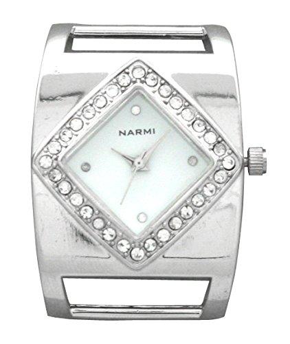 Narmi Square Design Watch Case with Rhinestones on Diamond Shaped Face ()