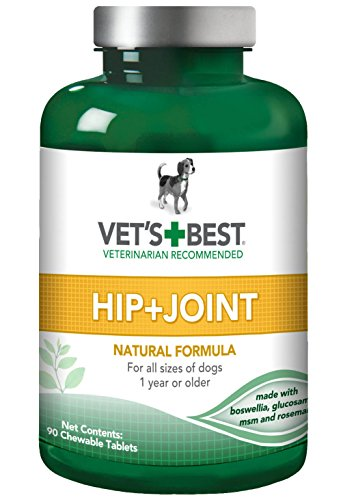 Vets Best Advanced Hip & Joint Dog Supplements | Formulated with Glucosamine and Chondroitin to Support Dog Joint and Cartilage Health | 90 Chewable Tablets