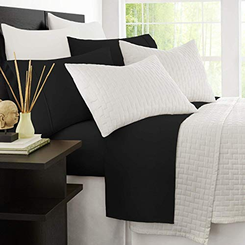 Zen Bamboo 1800 Series Luxury Bed Sheets - Eco-Friendly, Hypoallergenic and Wrinkle Resistant Rayon Derived from Bamboo - 4-Piece - Queen - Black