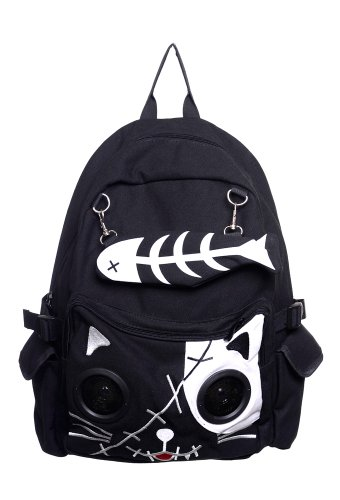 Banned Kitty Speaker Backpack - Black/White/One Size