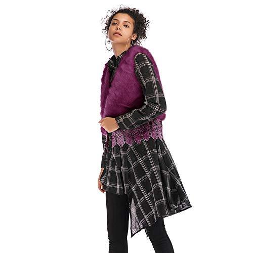 Purple Hiver Courte De Chic Fourrure Vintage Femme Vetement Sleeveless Elégante Jacken Gilet Unicolore Automne Fashion Synthétique Basic Vest XAnTwU