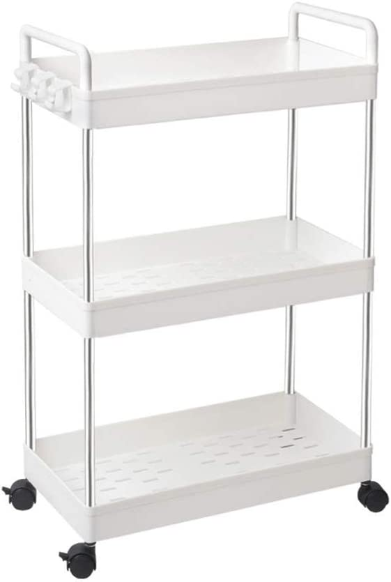 Slim Storage Cart 3 Tier White With Handle Shelving Unit Organizer Rolling Utility Cart For Bathroom Kitchen Storage shelf (Color : White)