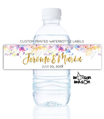Personalized Wedding Water Bottle Labels - Bridal Shower
