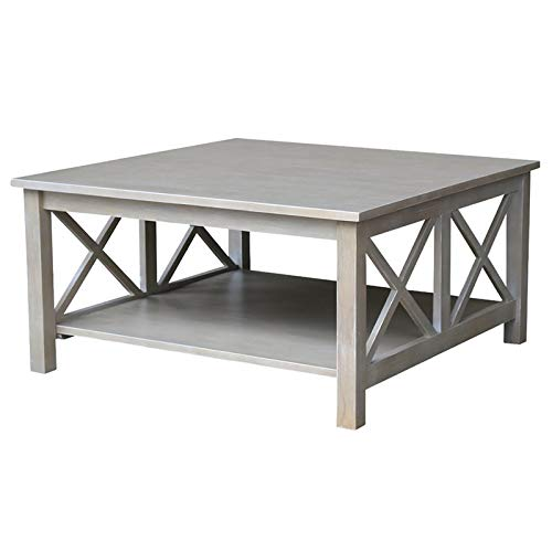 International Concepts OT09-70SC Hampton Square Coffee Table, Washed Gray Taupe