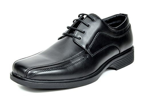 Bruno Marc CAMBRIDGE-03 Men's Formal Loafers Lace Up Slip On Square Moc Toe Leather Lining Dress Classic Oxford Shoes Black Size 12