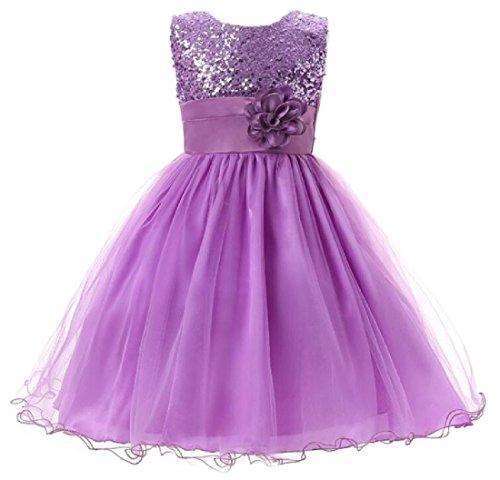 120cm Party Long Dress Sleeveless Princess Girl Dress-Purple - 7