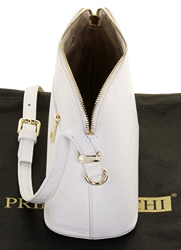 Bag Triangular Leather Small Primo White Storage Textured Includes Crossbody Shoulder Bag Genuine Sacchi or Branded Italian wwqSvY