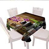 haommhome Spa Plaid Tablecloth Warm Welcoming Spa Reception Big Healing Stones Candles Scent