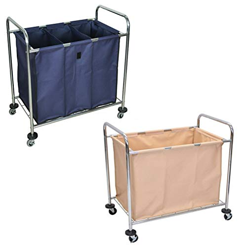 Luxor Laundry Cart with Chrome Plated Steel Frame and Heavy Duty Canvas Bag & Steel Frame Industrial Laundry Cart with Canvas Bag and Dividers - Navy